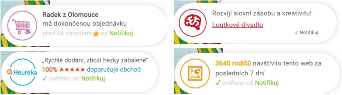 Typy použitých notifikací pro kufrik.cz
